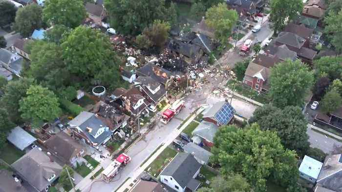Aerial Video Shows Devastation in Ontario After Vehicle Hits House, Sparks Explosion