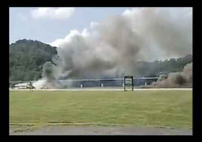Smoke Billows From Wreckage After Plane Carrying Dale Earnhardt Jr and Family Crashes