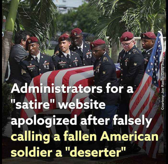 """""""Satire"""" Website Admins Apologized after Falsely Calling a Fallen American Soldier a """"Deserter"""""""