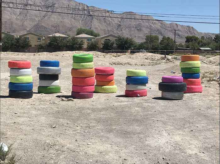 Tire version of Seven Magic Mountains pops up in east Las Vegas