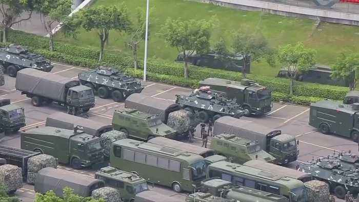 Chinese paramilitary forces exercise near Hong Kong border