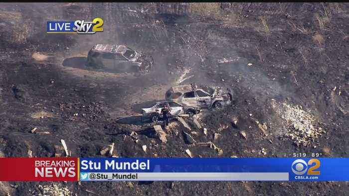Pursuit Of Stolen Vehicle Ends In Crash, Sparks Brush Fire In Moreno Valley