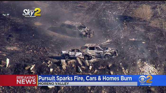 Pursuit Crash Sparks 5-Acre Brush Fire In Moreno Valley, Burns Multiple Homes, Vehicles