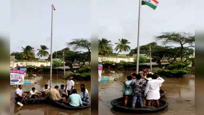Watch: Independence Day celebration in flooded Karnataka village