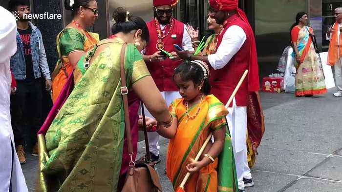 Indian Americans show support for Trump during 'India Day Parade' in Manhattan