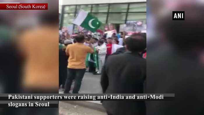 Shazia Ilmi other BJP leaders confront Pak supporters raising anti Indian slogans in Seoul