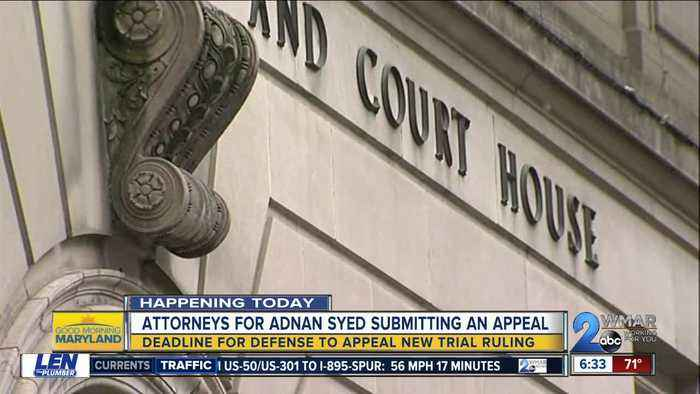 Attorneys for Adnan Syed submitting an appeal for new trial ruling