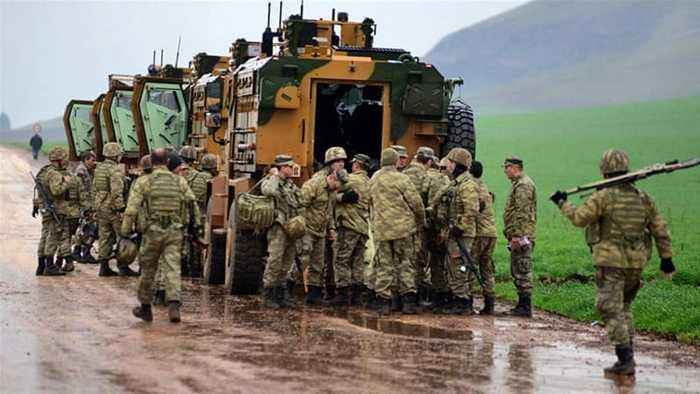 Turkey says military convoy targeted in northern Syria