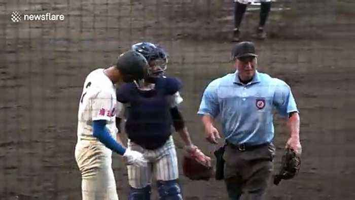 Japanese baseball player whacked on the shoulder replies with an impressive home run