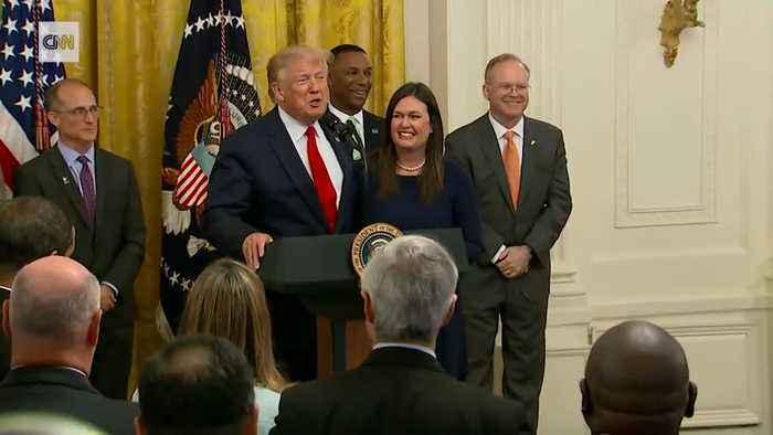President Trump says thank you and goodbye to Sarah Sanders