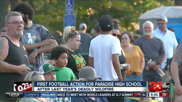 First football action for Paradise High School after wildfire devastation