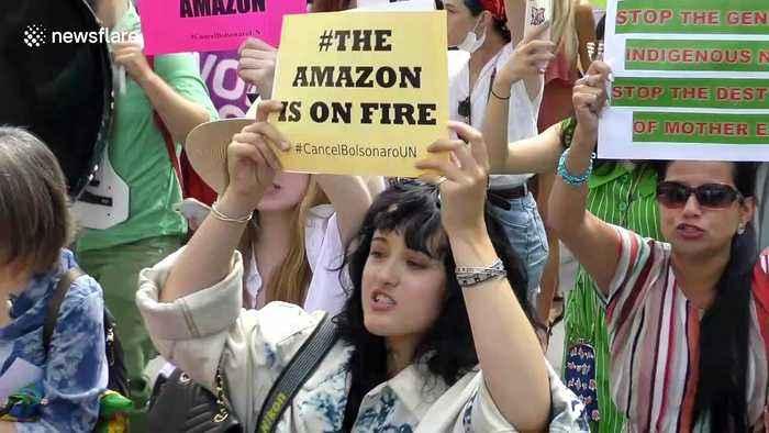 Amazon Fires: Hundreds march to denounce Brazilian President