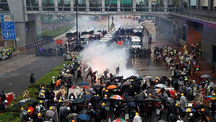 Latest Hong Kong protests end in clashes and tear gas being fired