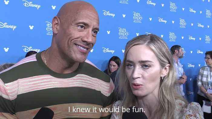 Dwayne Johnson and Emily Blunt giggle about their 'hot' first meeting