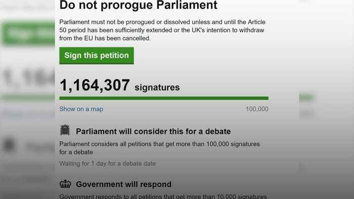 More than one million sign petition against suspending Parliament