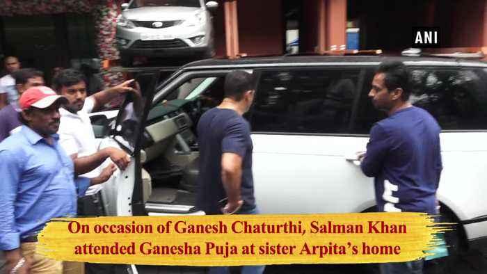 Salman Khan attends Ganesha Puja at sister Arpita home