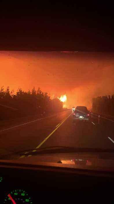 Forest Fire Makes for Frightening Drive