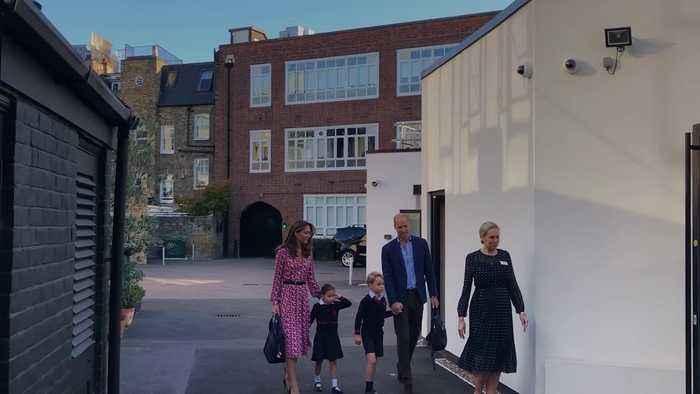 Handshake from headteacher as Princess Charlotte starts school