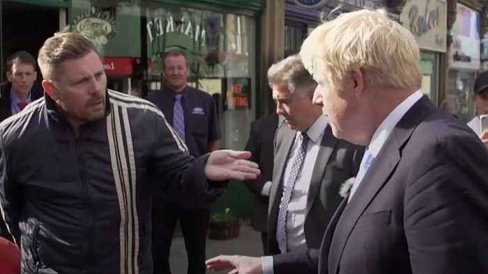 'You're playing games!' Heckler ruins Boris Johnson's charm offensive in the north of England