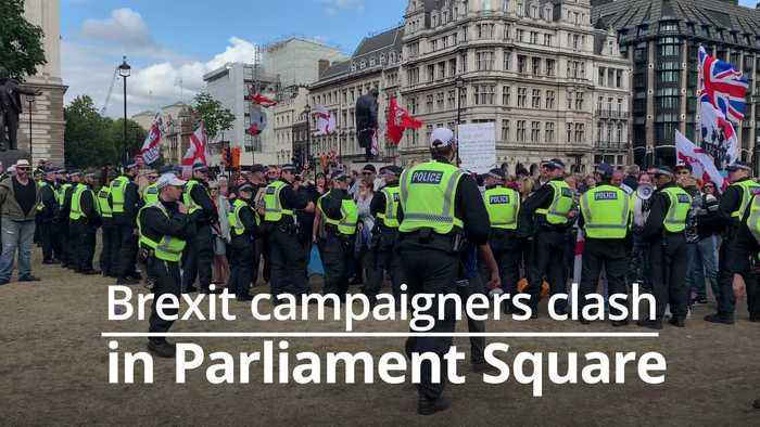 Pro and anti-Brexit demonstrators clash on Parliament Square
