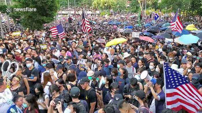 Hong Kong protesters chant 'USA! USA!' in march on US Consulate