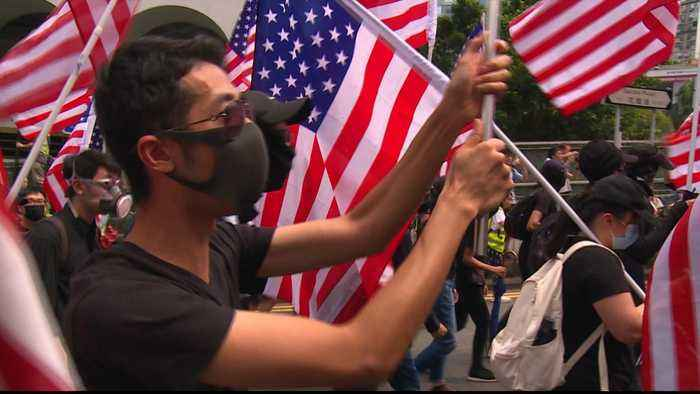 Hong Kong protesters march to US consulate calling for support