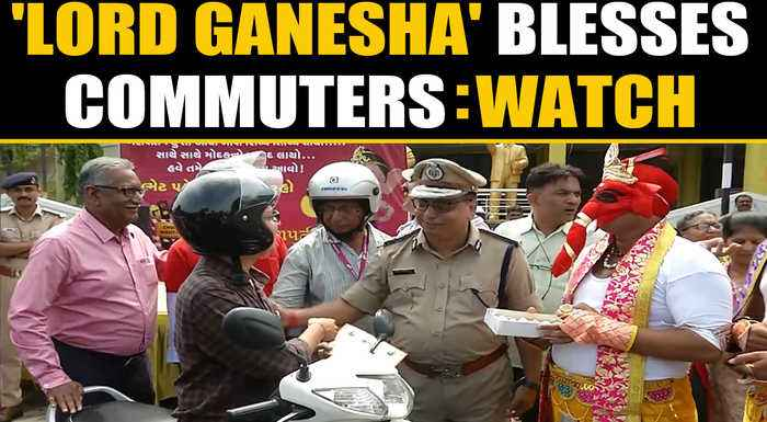 Rajkot Traffic Police dressed as Lord Ganesha to raise traffic rules awareness | OneIndia News