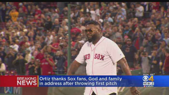 Ortiz Throws Out First Pitch At Fenway Park
