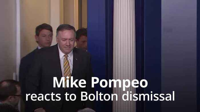 US secretary of state Mike Pompeo reacts to Bolton dismissal