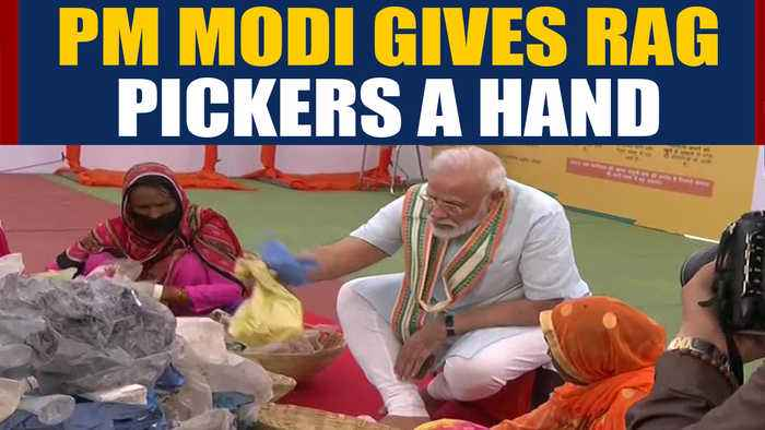 PM Modi arrives in Mathura, gives rag pickers a hand   Oneindia News