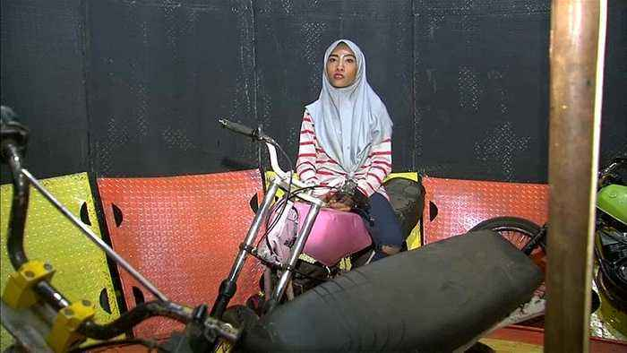 Watch: Hijab but no helmet for this Indonesian Wall of Death stunt rider