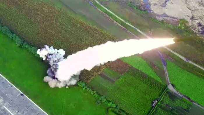 North Korea test-fires 'super large' launcher