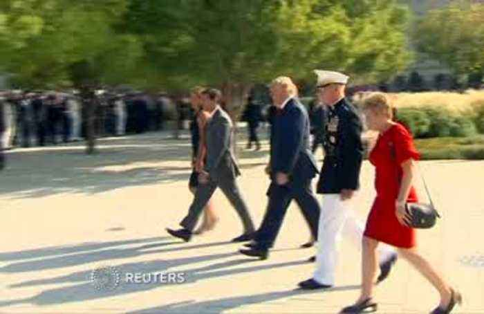 Trump, first lady lay wreath at Pentagon Memorial