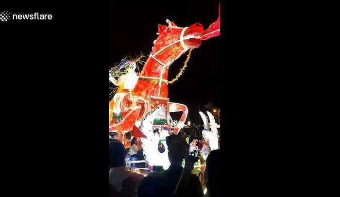 Giant lanterns parade around the streets in the mid-autumn festival in Vietnam