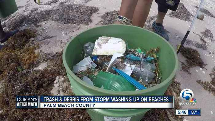 Trash and debris from Hurricane Dorian washing up on local beaches