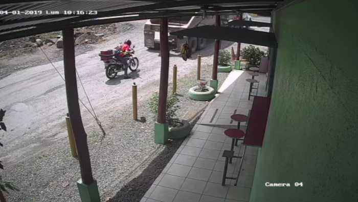 Truck Parks on Top of Unseen Motorcycle