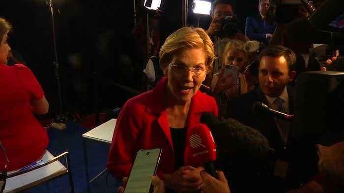 Spin room reaction to third U.S. Democratic presidential debate