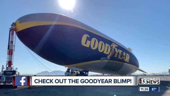 Goodyear blimp over Las Vegas