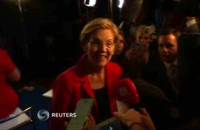 Spin room reaction to third U.S. Democratic presidential debate