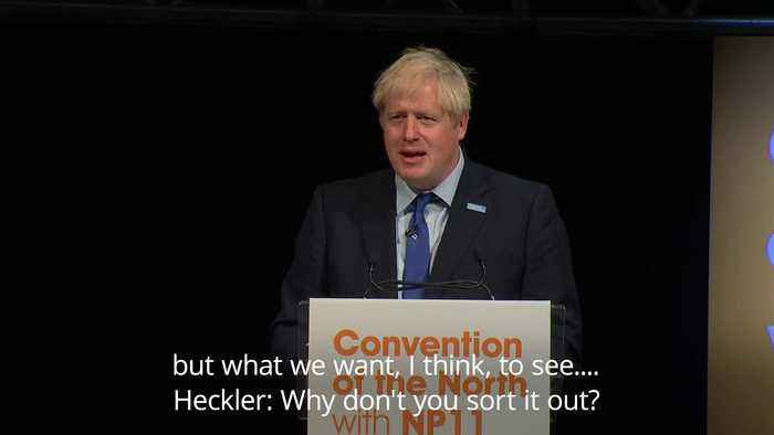 Boris Johnson heckled by audience member in Rotherham