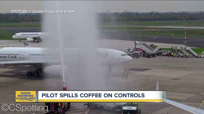 Coffee spill causes unexpected landing