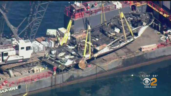Charred Wreckage Of 'Conception' Towed To Port Hueneme Naval Base