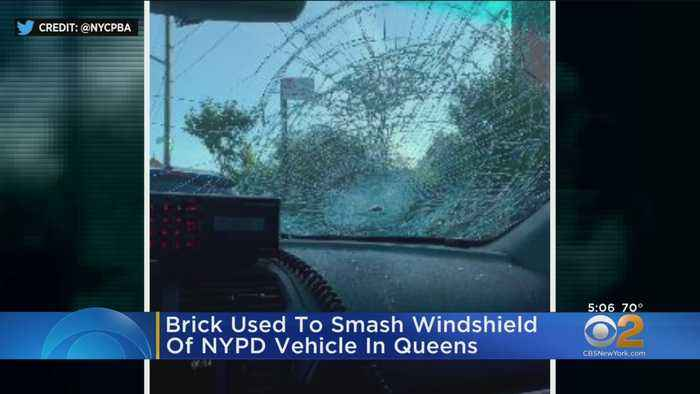 Brick Used To Smash Windshield Of NYPD Vehicle In Queens