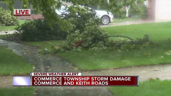 Storm damage in Commerce Township