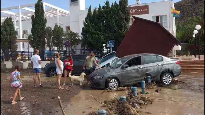 Torrential rains bring chaos to Spanish seaside town