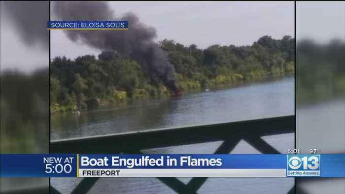 Boat Engulfed In Flames Near Freeport