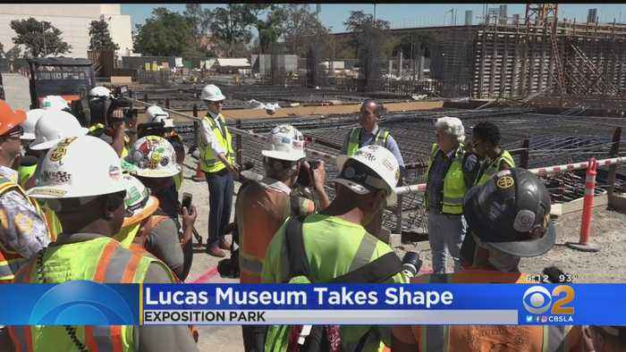George Lucas, Mayor Garcetti Check In On Construction Of Lucas Museum