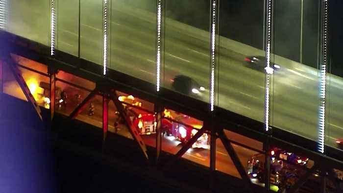 Raw Video: Vehicle Fire on Lower Deck of Bay Bridge