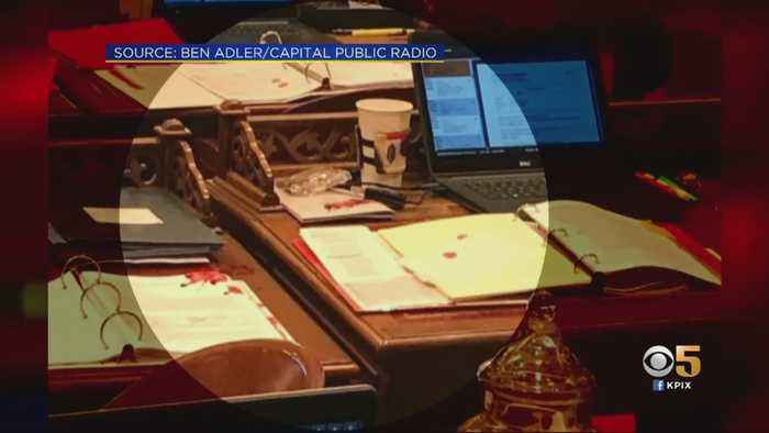 Woman Arrested After Throwing Red Liquid on California Senate