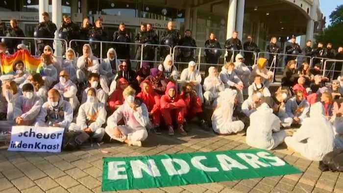 Climate protesters demonstrate outside Frankfurt car show